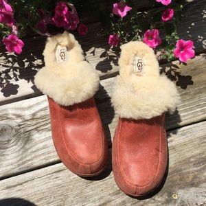 Uggs Kalie Wooden Mule Clogs Sherpa lined